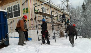 Students on the site on a winter day.