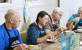 Friendships develop as participants share meals.